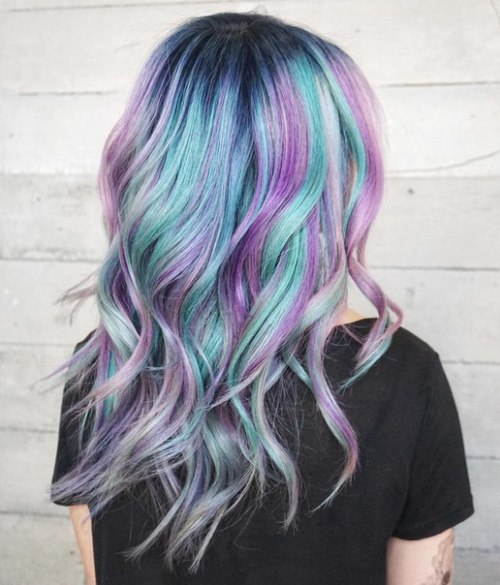 Turquoise Hair With Pastel Purple Highlights