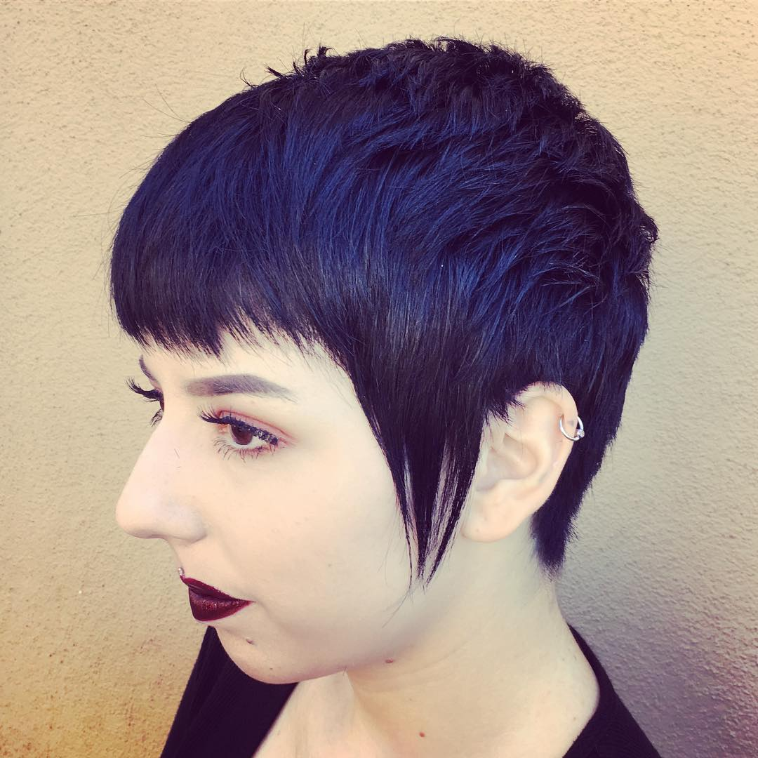 Black Pixie With Long Sideburns