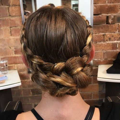 Halo Updo With A Braided Bun