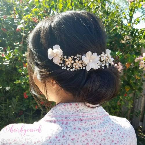 Low Wedding Updo For Medium Hair