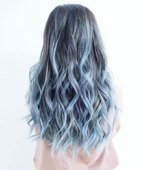 Pastel Blue Ombre Highlights