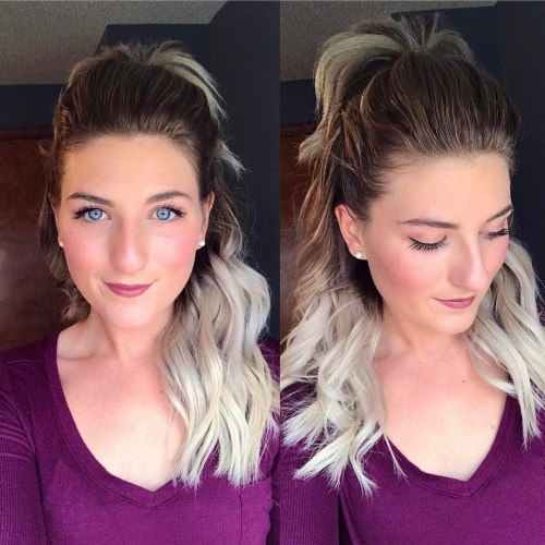 Half Up Ponytail Ombre Hair