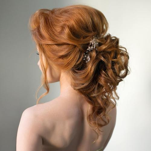 Curly Ponytail Wedding Updo