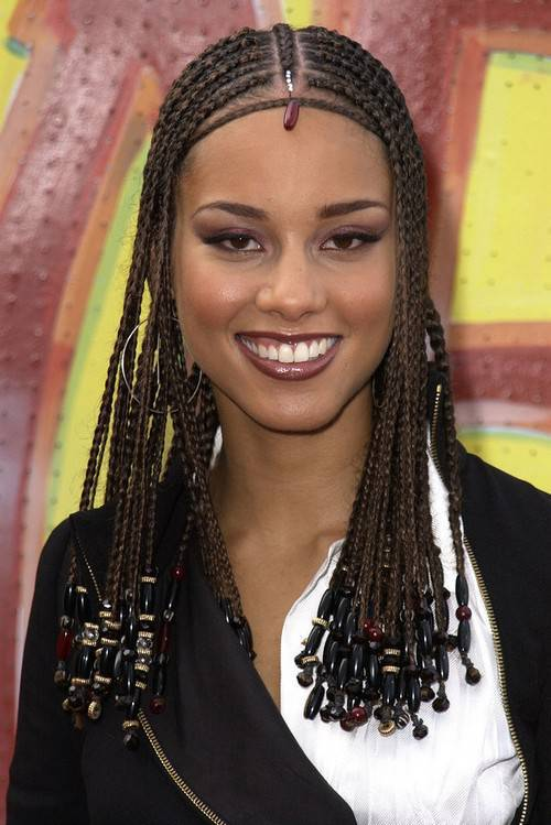 Alicia Keys symmetric box braids