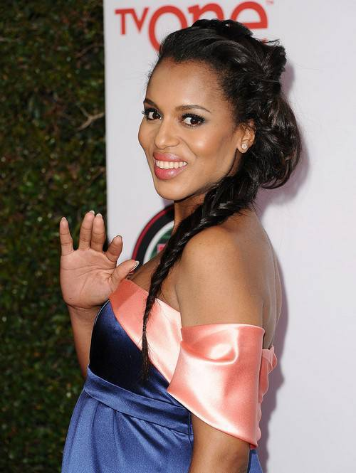 Kerry Washington side fishtail braid
