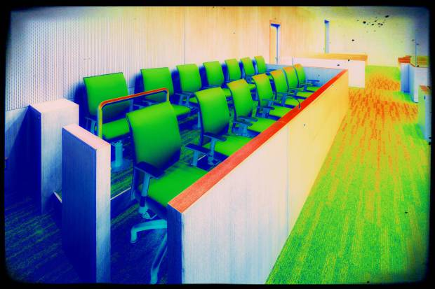 Jury Box in a new court room