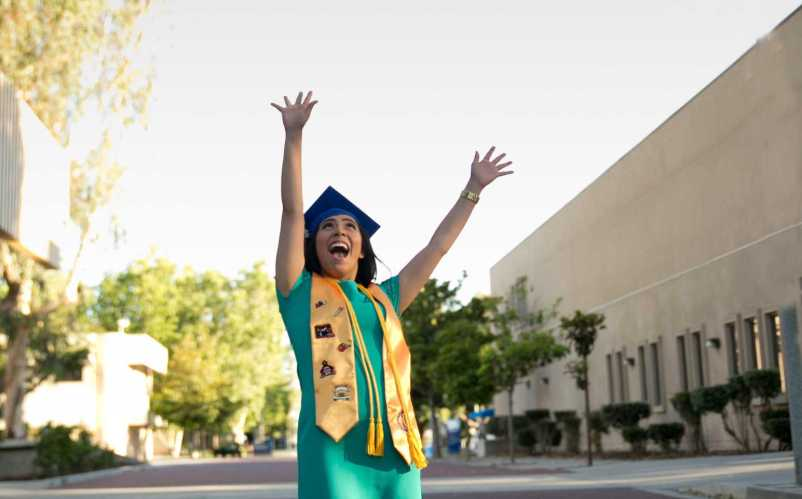Liberal studies major Lupita Melendez celebrates her upcoming graduation from CSUB. Photo by Alfred Ray Photography