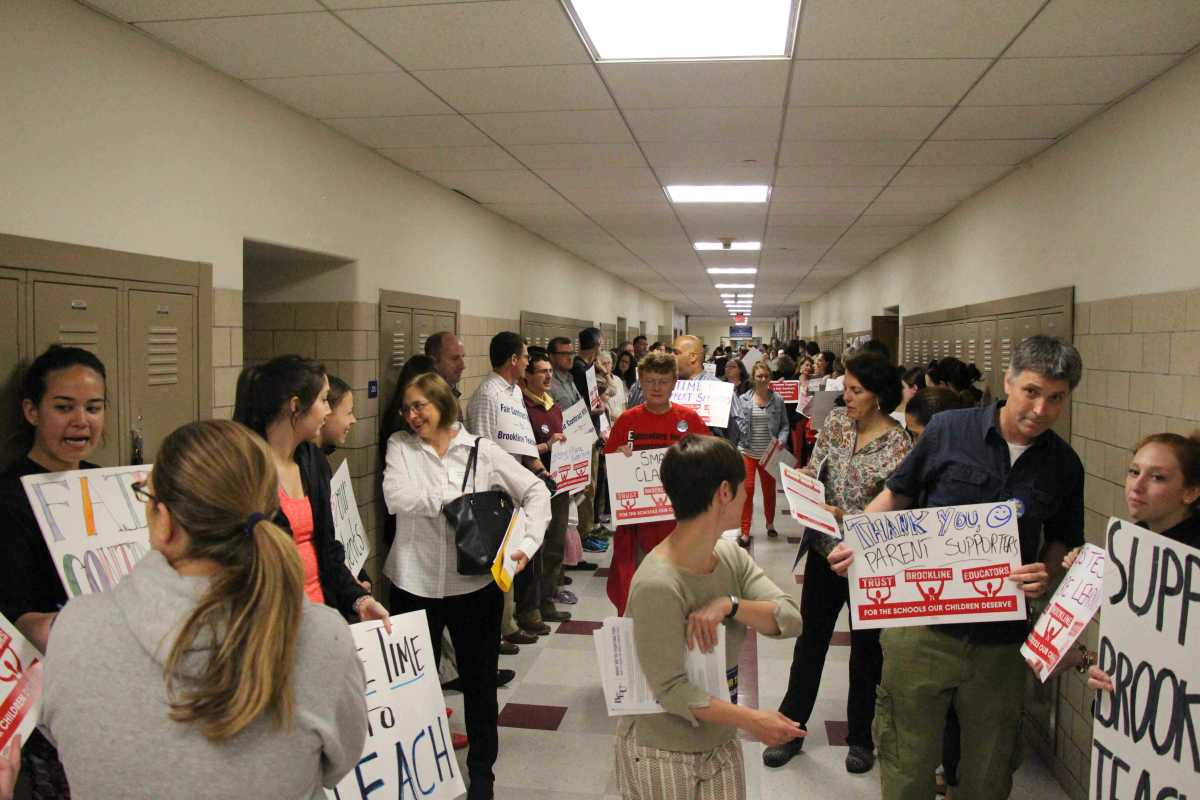 BEU gathers for demonstration in front of annual Town Meeting