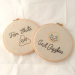 Shits and Giggles Funny Embroidery Wall Hanging Wall Hoop Set. Want to showcase your great sense of humor? Looking for the perfect bathroom decor or house warming gift? This hand stitched, 6 inch wall hanging is sure to get some giggles