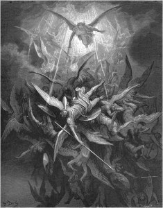 "Gustave Doré, Paradise Lost, Book I (1866): ""Him the Almighty Power / Hurled headlong flaming from th' ethereal sky."" (I.44-45)"