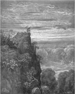 "Gustave Doré, Paradise Lost, Book IV (1866): ""Now to the ascent of that steep savage hill / Satan had journeyed on, pensive and slow."" (IV.172-73)"