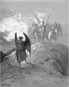 "Gustave Doré, Paradise Lost, Book IV (1866): ""The Fiend looked up, and knew / His mounted scale aloft: Nor more; but fled / Murmuring, and with him fled the shades of night."" (IV.1013–1015)"