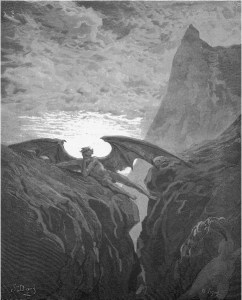 "Gustave Doré, Paradise Lost, Book VI (1866): ""Now Night her course began."" (VI.406)"