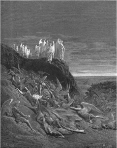 "Gustave Doré, Paradise Lost, Book VI (1866): ""On the foughten field / Michael and his angels, prevalent / Encamping, placed in guard their watches round."" (VI.410-12)"