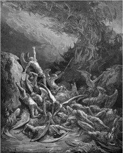 "Gustave Doré, Paradise Lost, Book VI (1866): ""Nine days they fell."" (VI.871)"