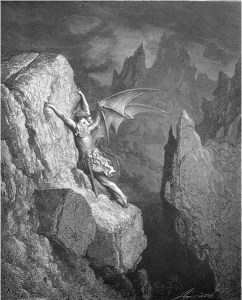 "Gustave Doré, Paradise Lost, Book II (1866): ""With head, hands, wings, or feet, pursues his way, / And swims, or sinks, or wades, or creeps, or flies."" (II.949-50)"