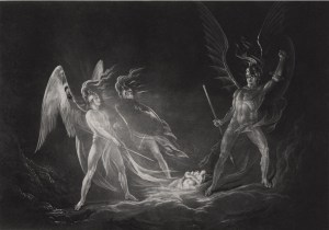 John Martin, Satan Starts at the Touch of Ithuriel's Spear (ca. 1823-25)
