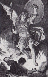 After R. Corbould, Satan Rises from the Burning Lake (1796)