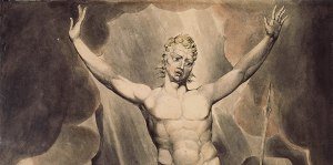 William Blake, (Detail) Satan arousing the Rebel Angels (1808)