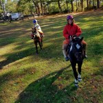 Vicki on Devil and Amanda on Huey getting ready to hit the trails