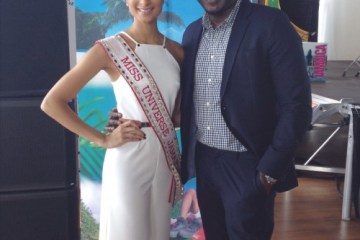 Toronto Pan Am Games. Jamaica House. Jermaine Bailey and Miss Universe Jamaica, Kaci Fennell