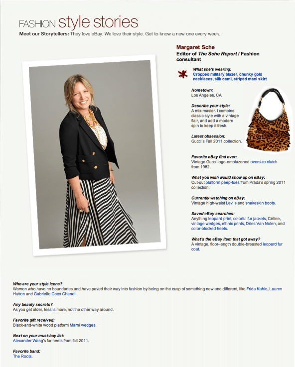 GET THE LOOK: MARGARET SCHE ON EBAYS STYLE STORIES   The Sche Report / Margaret Sche