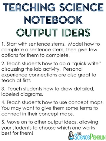 Science Notebook Output Ideas