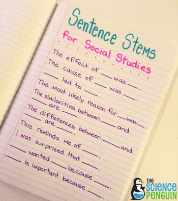 Social Studies Sentence Stems