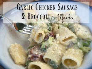 This is a fast and easy creamy garlic chicken sausage and broccoli alfredo