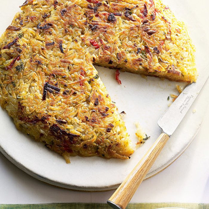 Hash Browns with Leeks and Bell Peppers