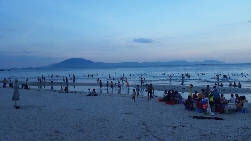 A beach full of Vietnamese locals. One of the many places we would have missed if we'd taken the bus!