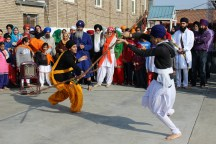 Gatka students test their skills against each other.