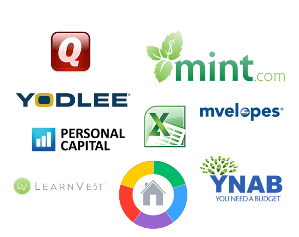 Quicken Mint Yodlee MEnvelops Personal Capital LearnVest Home Budget Sync YNAB Excel Logo Programs