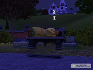 依附有模擬市民睡的長椅中。