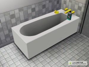有泡泡浴及鴨子的浴缸。