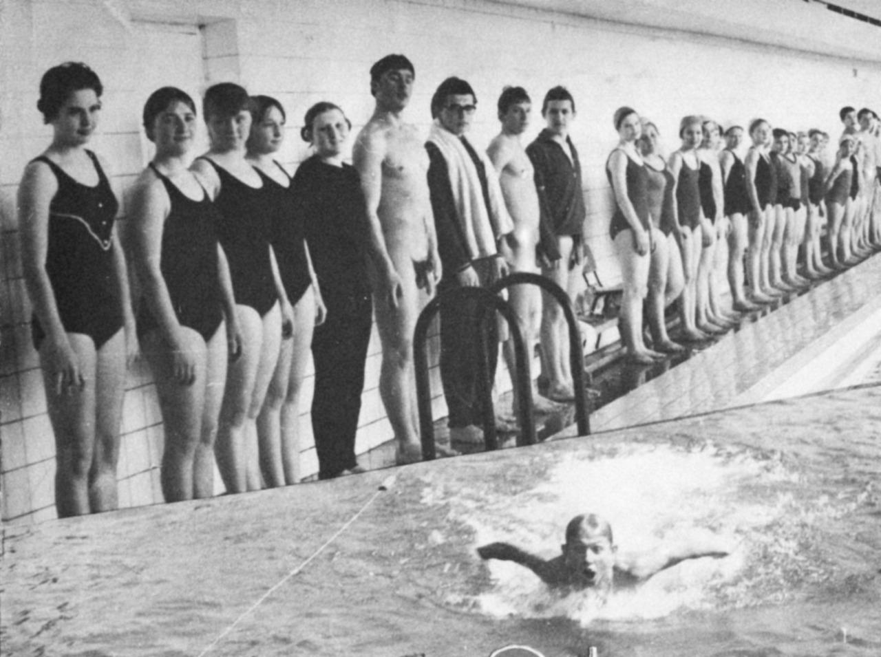 vintage nude girl swimming pool