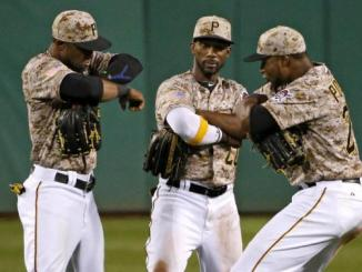 The Pirates sport the best outfield in baseball. Photo Courtesy of Yahoo.