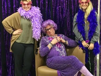 Millersville students pose with Dame Edna at this past weekend's fundraiser. (Photo Courtesy of Rikki Etter's Facebook)
