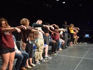 Millersville students were hypnotized into being zombies by Chris Jones. (Maria Gonzalez/Snapper)
