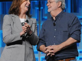 Kathleen Kennedy and George Lucas attend the 40 YEARS OF STAR WARS PANEL during the 2017 STAR WARS CELEBRATION at Orange County Convention Center on April 13, 2017 in Orlando, Florida.  (Photo and Caption by Gerardo Mora/Getty Images for Disney)