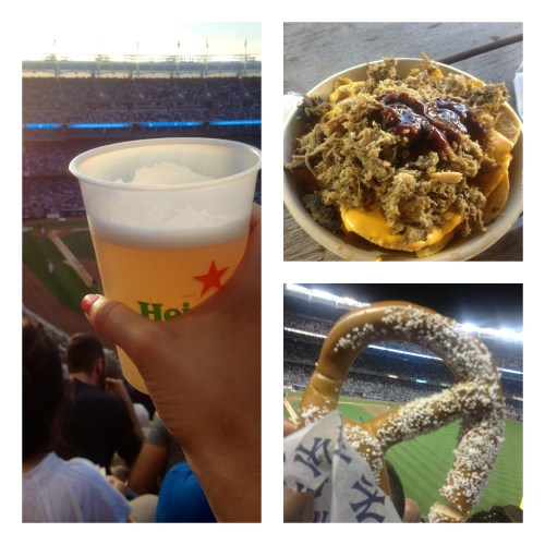 Pulled pork nachos, pretzels, beer. I heart baseball.