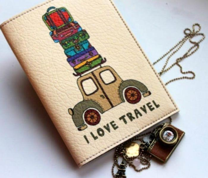 """MindMap """"I Love Travel""""  leather retro car passport cover. Makes a perfect gift!"""