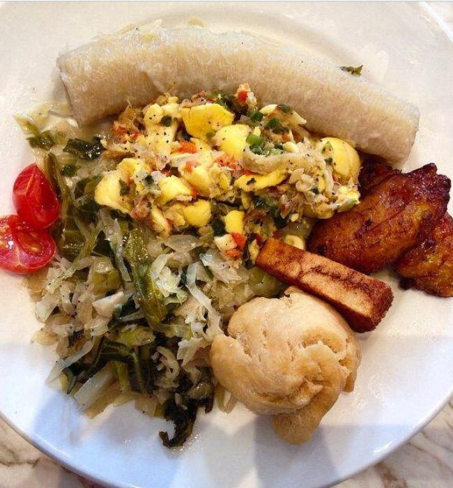 Visit Jamaica: Land I Love. Traditional Jamaican breakfast including Ackee and Saltfish-the national dish.