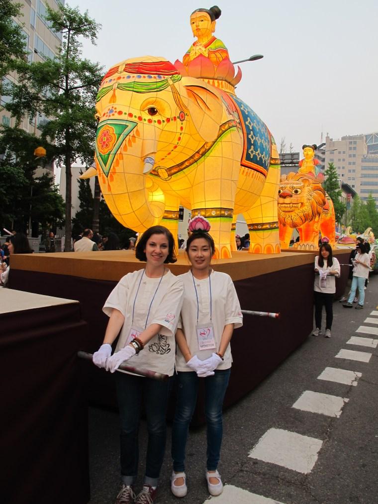 Pushing floats in the Lotus Lantern Mini-Parade
