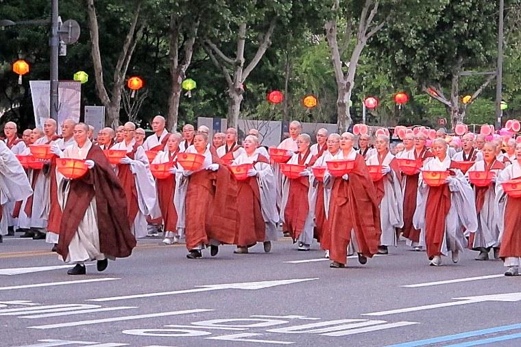 Seoul, Korea: Lotus Lantern Festival, monks