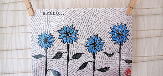 Blue Hello Postcard