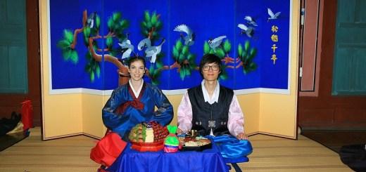 Korean Traditional Wedding: American wife & Korean husband in traditional Korean Hanboks, Multicultural Couple, Paebaek