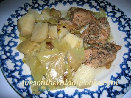 Slow Cooker Chicken, Apples, Potatoes and Cabbage. - Copy