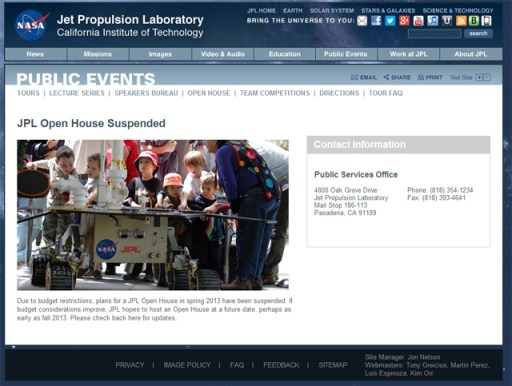A screen shot of NASA JPL's  Open House Web site.