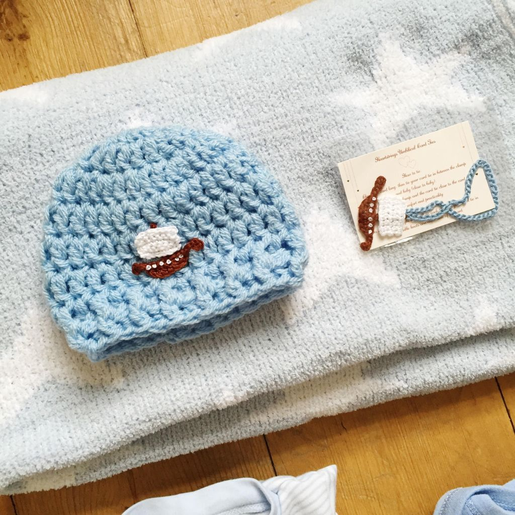 Handmade Baby Hat and Cord Tie